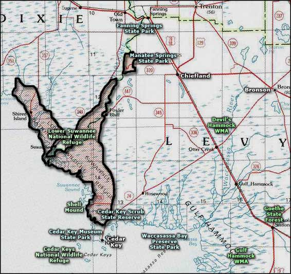 Lower Suwannee National Wildlife Refuge location map