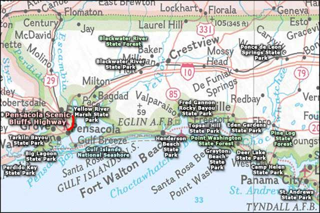 Pensacola Scenic Bluffs Highway area map