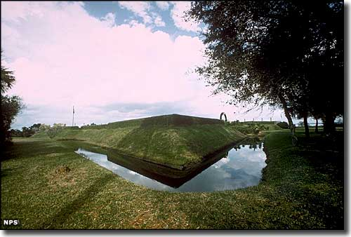 The moat at the reconstructed Fort Caroline