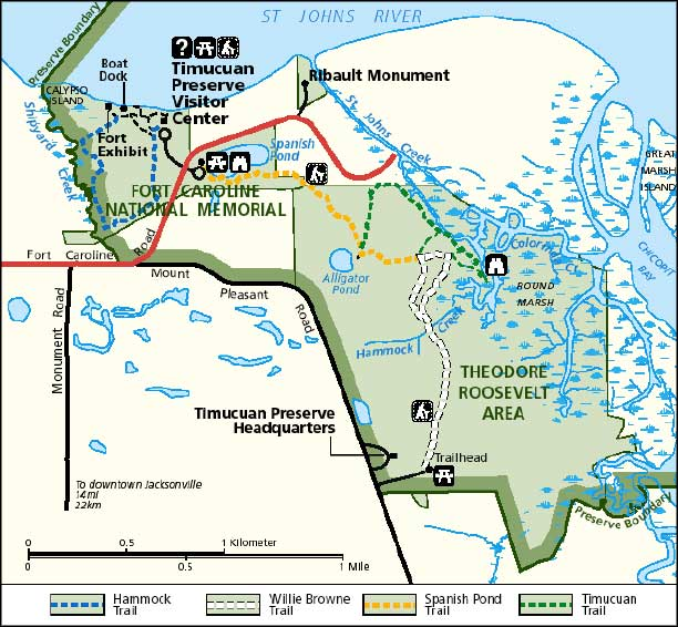 Map of Fort Caroline National Memorial