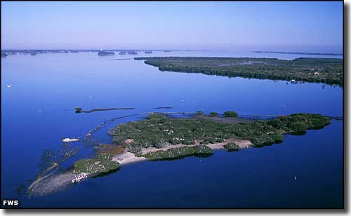 An aerial view at Pelican Island National Wildlife Refuge