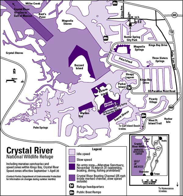 Map of Crystal River National Wildlife Refuge
