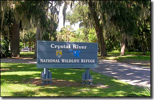 Crystal River National Wildlife Refuge headquarters sign