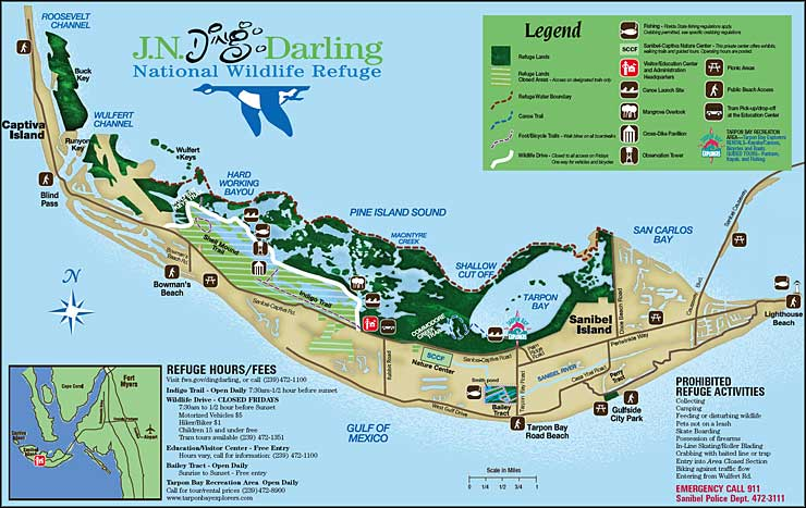 Map of J.N. Ding Darling National Wildlife Refuge