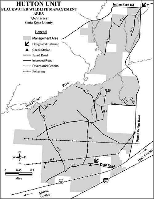 Map of the Blackwater Wildlife Management Area Hutton Unit