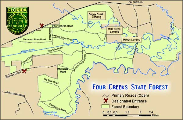 Map of Four Creeks State Forest