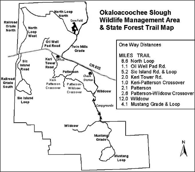 Trail map of Okaloacoochee Slough State Forest
