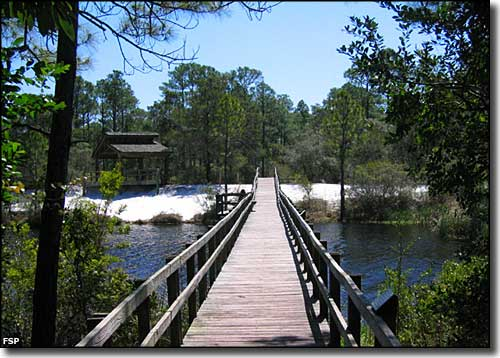 The boardwalk across Long Pond at Big Lagoon State Park