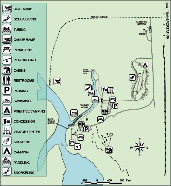 Map of Blue Spring State Park