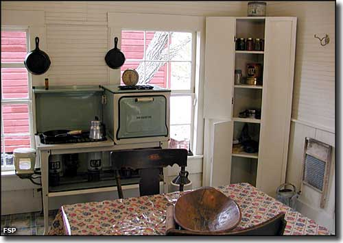 The kitchen in the Whitman house