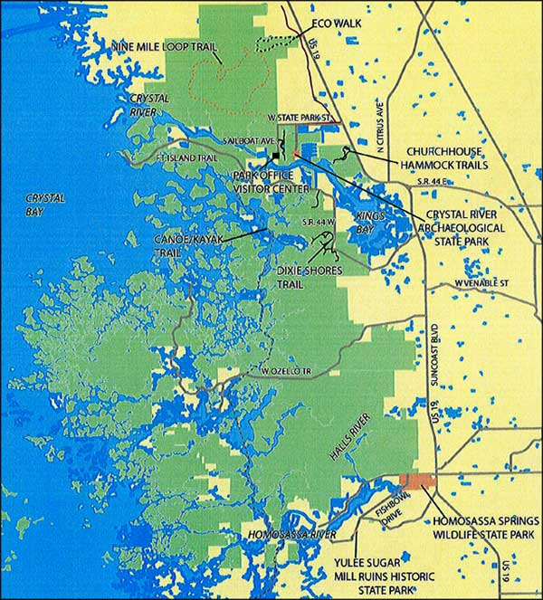Map of Crystal River Preserve State Park