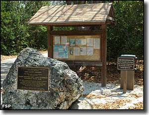 Plaque and information kiosk at the Dagny Johnson Key Largo Hammock Botanical State Park trailhead