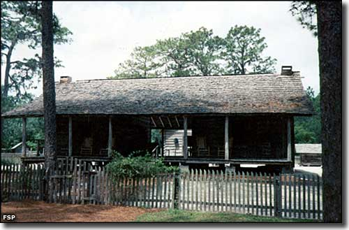 Front of the cracker house at Forest Capital Museum State Park
