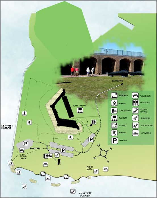 Map of Fort Zachary Taylor Historic State Park