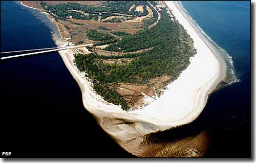 Aerial view of the south end of Amelia Island