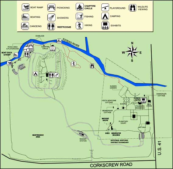 Map of Koreshan State Historic Site