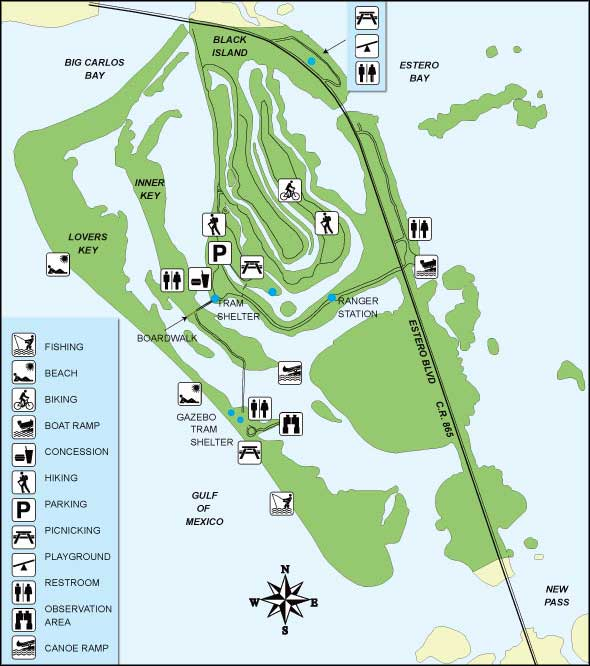 Map of Lovers Key/Carl E. Johnson State Park