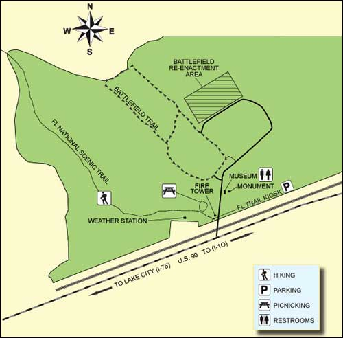 Map of Olustee Battlefield Historic State Park