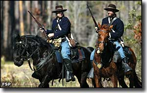 Civil War actors on horseback