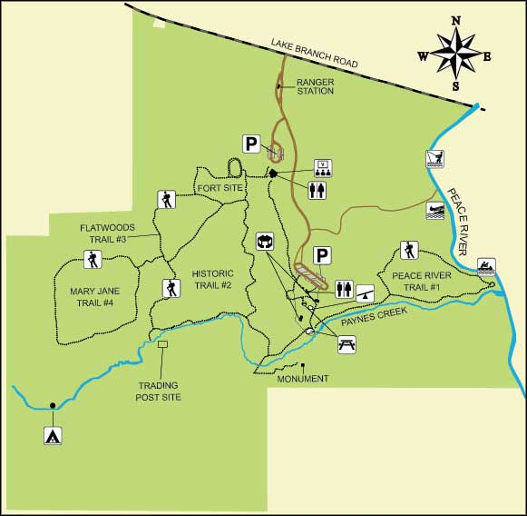 Map of Paynes Creek Historic State Park