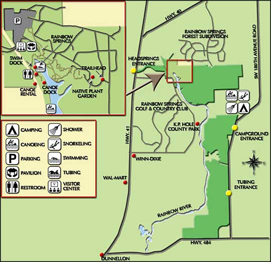 Florida State Parks Camping Map.Rainbow Springs State Park Florida State Parks