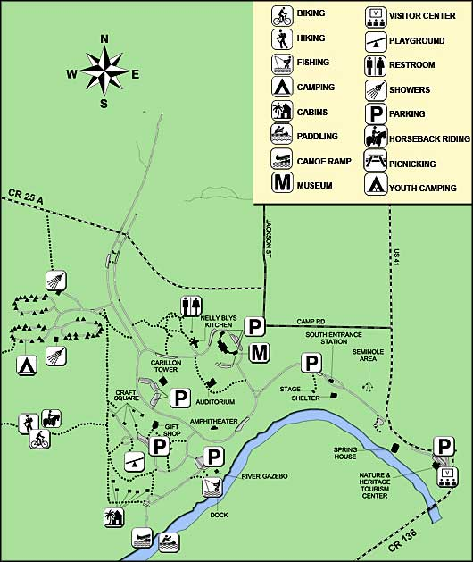 Florida State Parks Camping Map.Stephen Foster Folk Culture Center State Park Florida State Parks