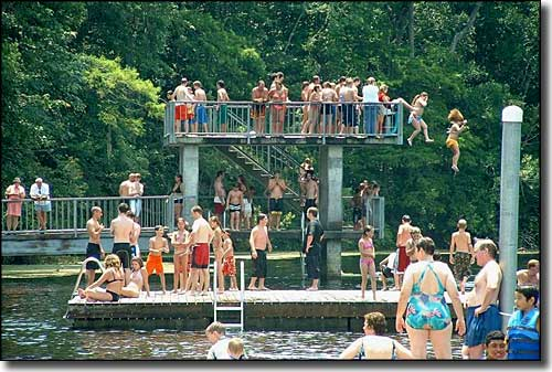 Swimmers and divers at Edward Ball Wakulla Springs State Park